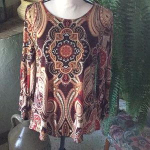 Chico's Paisley Print Long Sleeve Top